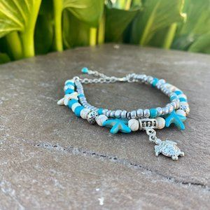 Starfish turquoise layered charm anklet